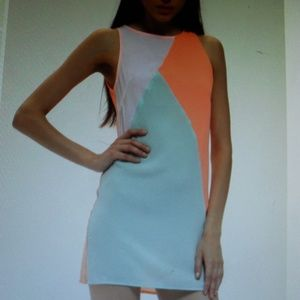 NWOT Orange Blue Sleeveless Color Block Dress Sm